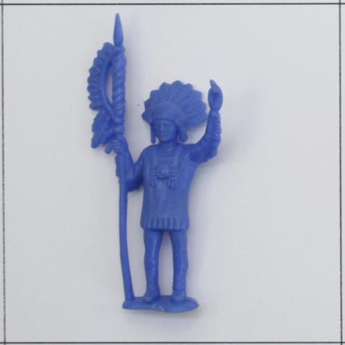 Indianer grüßend, mit Speer, Hellblau - Kuschel-Muschel